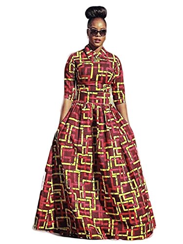 Yobecho Womens African Print Dashiki Dress Long Fit and Flare Crop Top Skirt Outfits Maxi Dress with Pockets (Medium, Red1)