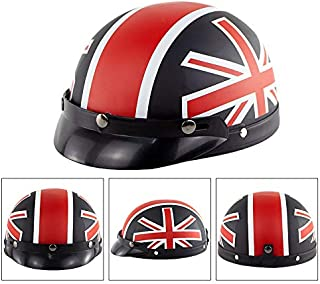 Alician Unisex Cute Motorcycle Helmet Bike Riding Protective Strong Safety Helmet Matte Black Cross Flag