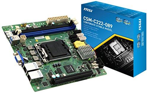 MSI Mainboard CSM-C222-089 LGA1150 Intel C222 2X DDR3 max 32GB USB 3.0 PCI-E 3.0 VGA Mini-ITX