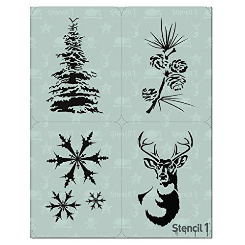 Stencil1 Stencil - Premium Quality Reusable Stencils for Painting - Create DIY Winter Holiday Crafts and Decor - Decor on Walls Fabric & Furniture Recyclable Art Craft - 4-Pack Stencil Set