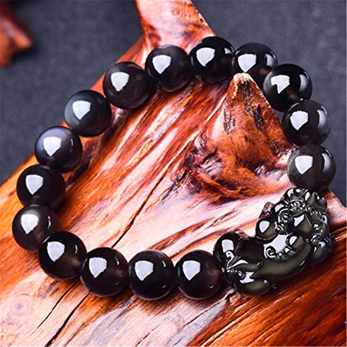 WCOCOW Feng Shui Negro obsidiana Riqueza Pulsera Pulsera cristalina obsidiana Natural pixiu pi Brazalete para una Buena Fortuna Valiente Afortunado y Riqueza,16MM