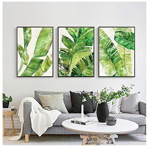 YIYAOFBH Leinwand Malerei Nordic Style Poster Tropenwald Baum Kunstdruck Aquarell Blatt Landschaft Wandbilder Wanddekoration Home 50x70 cm / 19,7