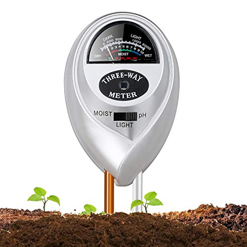 Soil pH Meter, Jellas 3-in-1 Moisture Sensor Meter/Light/pH Soil Test Kits Test Plant Moisture Meter for Garden, Farm, Lawn, Indoor & Outdoor Use(Silver) (Silver-Soil pH Meter)