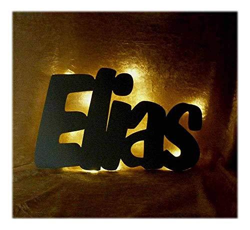 """Schlummerlicht24 Nachtlicht""""Elias"""", LED-Lampe mit Name und Farbe nach Wunsch, ideal als Deko für das Kinderzimmer, handgemacht"""