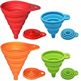 KongNai Silicone Collapsible Funnel Set of 4, Small and Large, Foldable Kitchen Funnel for Water Bottle Liquid Transfer Food Grade FDA Approved