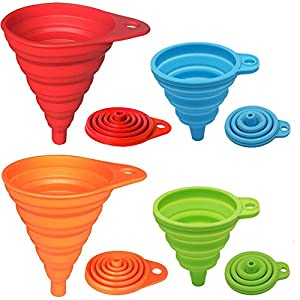 ✔MADE OF FOOD GRADE SILICONE: Soft and flexible silicone funnel, BPA Free and FDA Approved. Heat resistant -40°C to 250°C, No need to worry that the funnel may damage the health of your families. ✔ASSORTED SIZES AND COLORS: 2pcs Large funnel and 2pcs...
