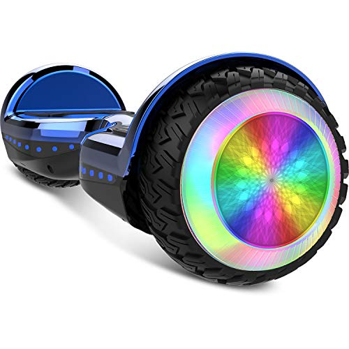 Gyrocopters PRO 6.0 All Terrain Hoverboard - UL 2272 Certified with Bluetooth, 36V / 2.0Ah Powerful Battery, 6.5' LED wheels, APP, No Fall Technology, up to 12km/h speed & 10km range, Front and Back lights, Free Hoverboard Bag (Chrome Blue)