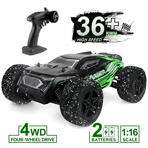 Rc Car, 1:16 Scale 2.4G 4WD Remote Control Off Road Truck with 2 Rechargeable Batteries, 36km/h High-Speed Off-Road Bigfoot Truck RC Car G172, RC Electronic Monster Hobby Truck Racing car for Kids A