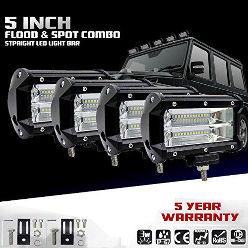 KaTur 5 Zoll 72W LED Lichtleiste Spot Beam 10800LLM Off Road Nebelscheinwerfer LED Fahrarbeitslampe für Lkw-Pickup J eep Suv ATV Utv 12V 24V Auto-Tagfahrlicht Driving Lights Wasserdicht 4-Pack