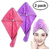 Frcolor - Juego de Toallas de secado de cabello, ultraabsorbentes, se pueden girar y poner como turbante (2 unidades, rosa y púrpura)