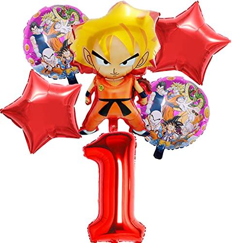 Decoración de Fiesta de Cumpleaños Tomicy 6 pcs Dragon Ball Party's Helium Balloons Decoraciones Cumpleaños de Fiesta para Niños Globos Party Supplies para Decoraci ón de Niños
