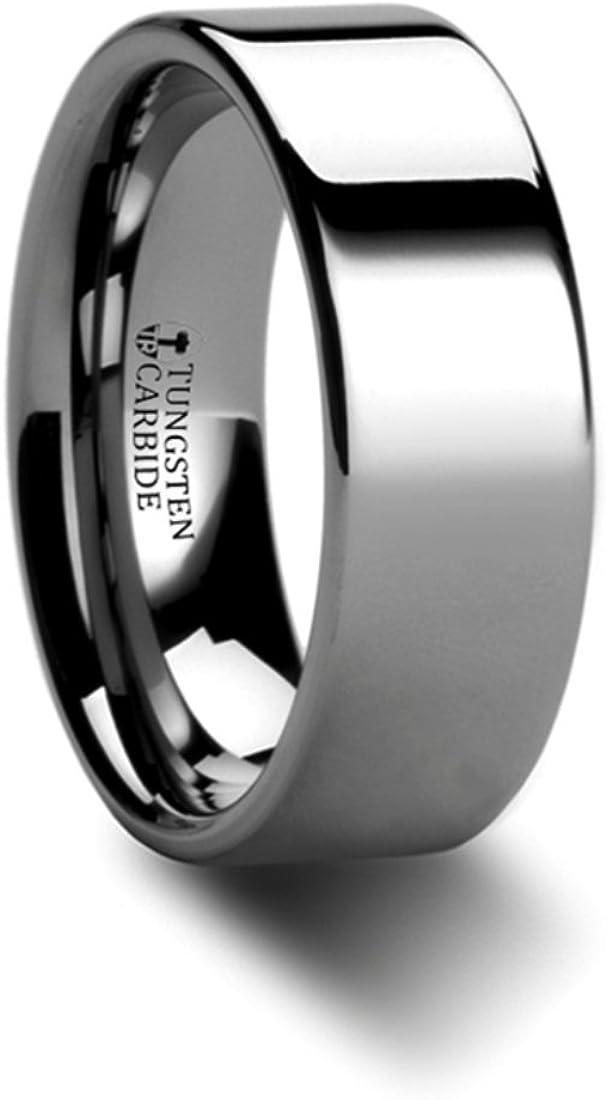 SPARTAN Pipe Cut Flat Tungsten Carbide Ring 8mm Wide Wedding Band