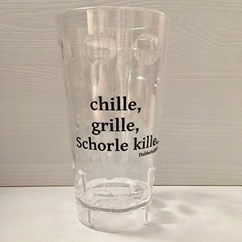 Pfälzer Dubbebecher chille, Grille, Schorle kille. 0,5 l aus Plastik (Polycarbonat) (transparent)