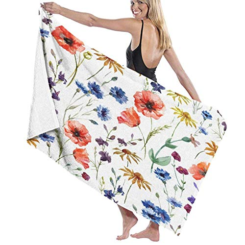 Spetlye Large Microfiber Toalla de baño Blanket,Beautiful Watercolor Wildflowers Poppy,Bath Sheet Beach Towel for Family Hotel Travel Swimming Sports,52' x 32'