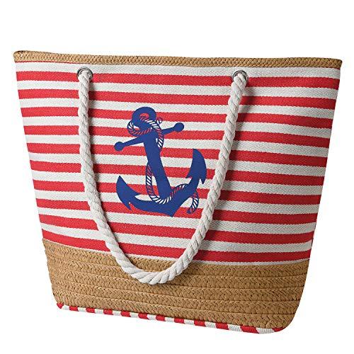 flintronic Große Strandtasche mit Reißverschluss und Innentasche Wasserdicht Strandtasche, Einkaufstasche Shopper für Damen, Schultertasche Einkaufstasche - Rot