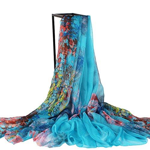 Isuper -Bufandas de Playa,Bufanda de Gasa,Pañuelo de Seda,Toalla De Playa para la protección Solar de Playa Bufanda Grande para Mujer (200 * 159cm Azul)