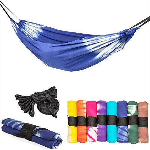 slomock Hängematte & Strandtuch für 2 Personen, 2 in 1, zu 100% aus Baumwolle in 8 Farben (In- & Outdoor 250 x 145 cm + 2 Seile 250 cm) (OZEANBLAU)