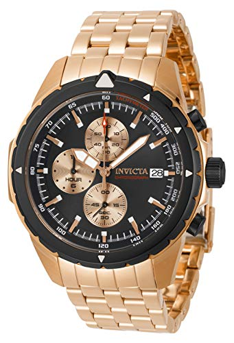 Invicta Men's Aviator Quartz Watch with Stainless Steel Strap, Rose Gold, 22 (Model: 31497)