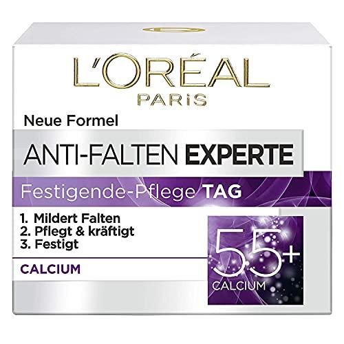L\'Oréal Paris Feuchtigkeitspflege für das Gesicht, Feuchtigkeitspendende Anti-Aging Tagescreme mit Calcium zur Minderung von Falten, Anti-Falten Experte 55+, 1 x 50 ml