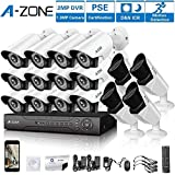 A-ZONE 16 CH 1080P DVR AHD Security Camera 16 System W/ 12x HD