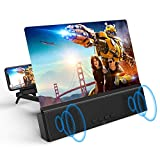 12' Screen Magnifier with Bluetooth Speakers -3D HD Magnifying Screen Enlarger for Movies, Videos, Games - Adjustable Foldable Phone Holder Stand with Screen Amplifier - Supports All Smartphones