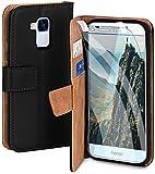 moex Handyhülle für Huawei Honor 5C - Hülle mit Kartenfach, Geldfach & Ständer, Klapphülle, PU Leder Book Hülle & Schutzfolie - Schwarz