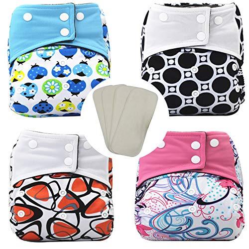 Pañales Bañadores De Tela, Pañales Todo En Uno De Tela Reusable Washable Cloth Nappy Cómodo Respirable 4Pcs Pañales + 4PCS Inserciones,Rosado