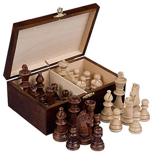 Staunton No. 6 Tournament Chess Pieces in Wooden Box, 3.9-Inch King