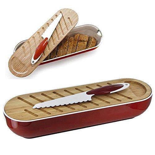 Set de 1 Grand Couteau à Pain en céramique + 1 Planche à découper en Bambou + 1 Corbeille à Pain de Service et de Conservation en métal - Efficace et hygiénique