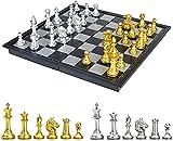 MWG ajedrez Damas Backgammon Tablero de ajedrez Juego de ajedrez Juego de ajedrez para Juegos de Mesa para niños con Plegable magnético Juego De Tablero Juguetes Regalo