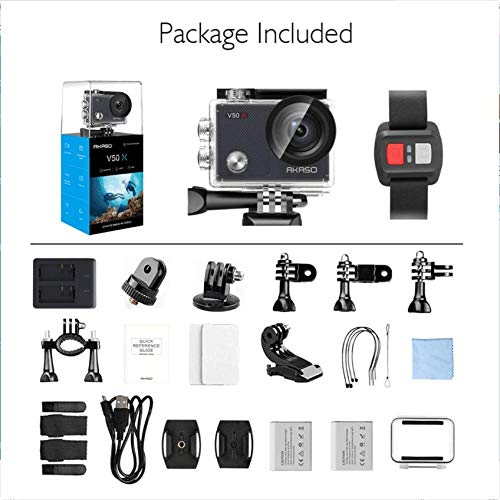 AKASO V50X Native 4K30fps Action Camera with EIS Touch Screen 4X Zoom 131 feet Underwater Waterproof Camera Remote Control Sports Camera with Helmet Accessories Kit