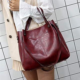 YKDY Shoulder Bag 4 in 1 PU Shoulder Bag Ladies Handbag Messenger Bag (Color : Red)