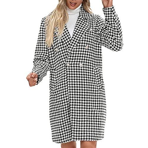 Abrigo de invierno para mujer, de mezcla de lana, a cuadros, doble fila, botones, beige, S