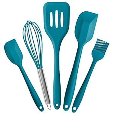 StarPack Premium Silicone Kitchen Utensils Set (5 Piece) in Hygienic Solid Coating + Bonus 101 Cooking Tips (Teal Blue)
