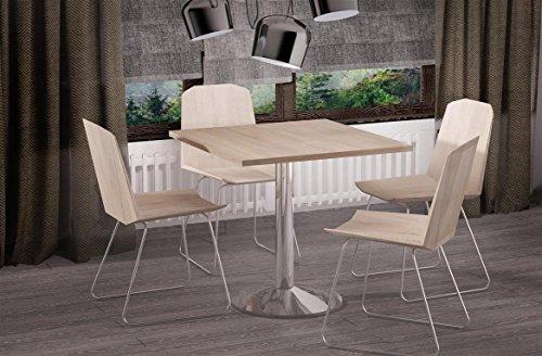 Esstisch Eiche Sonoma quadratisch 80x80cm Chrom Küchentisch Bistrotisch Design