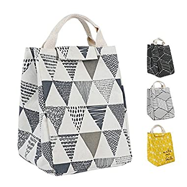 HOMESPON Reusable Lunch Bags Printed Canvas Fabric with Insulated Waterproof Aluminum Foil, Lunch Box for Women, Kids, Students (Triangle Pattern-Grey)