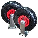 2 Sackkarrenräder mit Bockrolle, Gummirad 3.00-4, Kunststofffelge mit Nadellager, Tragkraft 100kg,...