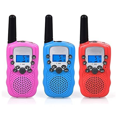 2 x T-388 Walkie Talkie Set para Niños Radios PMR 446 con baterías Cable de carga 3 km Gama 8 canales Juguete y regalo para niños Familia Adultos Aventura Camping Senderismo ( Color : Blue )