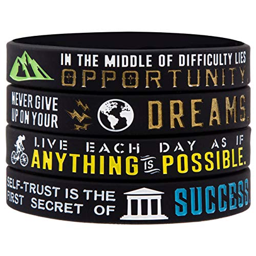 Sainstone Inspirational Bracelets, Motivational Wristbands for Athletes - Anything is Possible, Success, Dreams, Opportunity for Athletes, Men, Women and Teens Sports Fan Wristbands Gifts (Black)