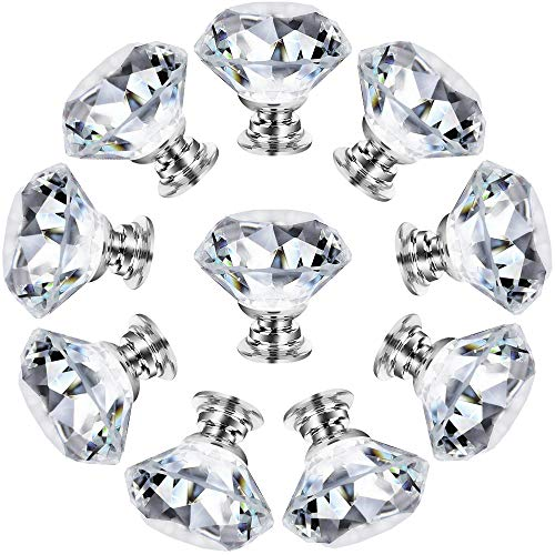 Cabinet Knobs Drawer Knobs Pull Crystal Glass Diamond Cabinet Dresser Pulls Cupboard Knobs with Screws for Kitchen Office Bathroom Cabinet (10 Pack, Silver)