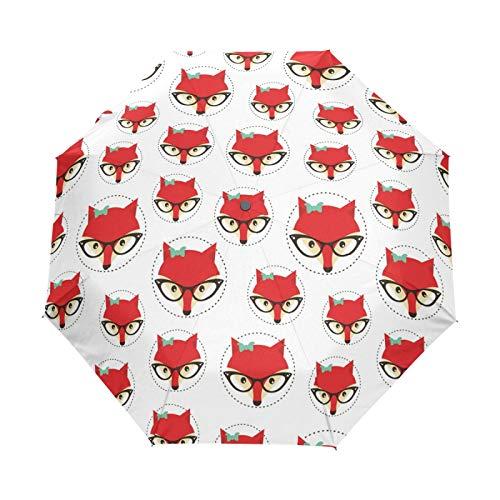 JinDoDo - Paraguas plegable automático con diseño de zorro de animales, resistente al viento, protector solar para viajes, para mujeres, hombres, niñas y niños