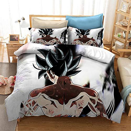 Juego de ropa de cama 3D Dragonball Z Goku, funda nórdica y funda de almohada, funda nórdica de microfibra con cremallera, ropa de cama infantil (A06, 155 x 220 cm + 75 x 50 cm)