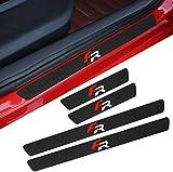 4 Piezas Protector Umbral Puerta Fibra Carbon para Seat FR+ Leon Ibiza, Anti Arañazos Antideslizante Bienvenida Pedal Accesorios