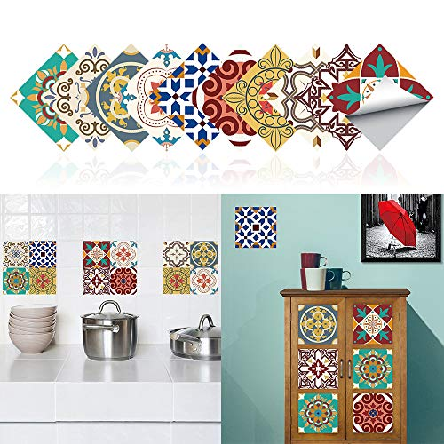 20x20cm Adhesivo para Azulejos de PVC Impermeable, Pegatinas de Baldosas Autoadhesivo, Vinilos para azulejos para cocina y baño (C)