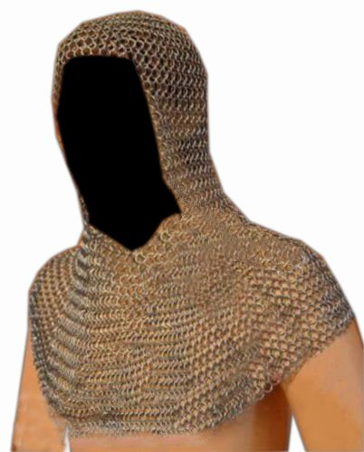 Queen Brass Chain Mail Coif Galvanized Chainmail Hood Knight Armor Zinc Standard Brown