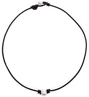 Bodai Handmade Genuine Leather Choker Necklace for Women Freshwater Pearl Jewelry (16, pearl)