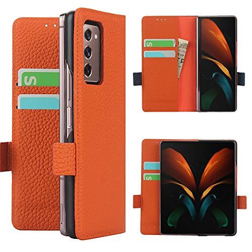 Copmob Samsung Galaxy Z Fold2 5G Hülle,Echtes Leder Flip Brieftasche Handyhülle,[3 Slots][Magnetknopf][Bracket-Funktion],Ledertasche Schutzhülle for Samsung Galaxy Z Fold2 5G - Orange