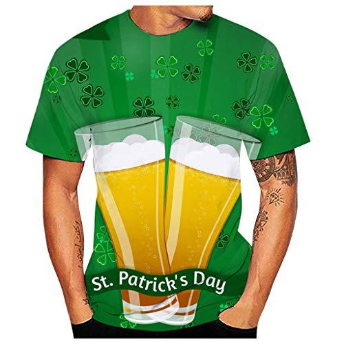 Yowablo T-Shirt Herren Druck 3D Muster Shirt Kurze Muskelshirt Tops Oversize Kurzarmshirt Sport Oberteile Print Basic Hemd Casual für St. Patrick's Day (M,1Grün)