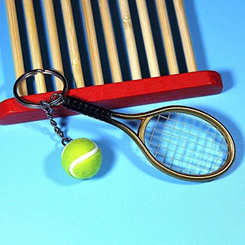 Mini Llavero Colgante de Raqueta de Tenis a la Moda, Llavero, buscador de Anillos, Accesorios para el día del Amante, Oro BCVBFGCXVB