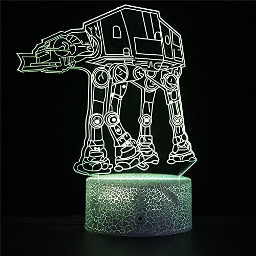 3D noche luz Star Wars J 3D ilusión lámpara 16 color cambiante LED humor lámpara escritorio mesa lámpara niños regalo